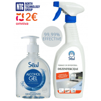 Set: Alcohol Gel with glycerin, moisturizing, 99.99% hand sanitizer gel, 300ml + disinfectant for surfaces and equipment, 750ml