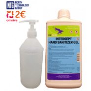 1L Intersept Antiseptic Gel professional hand disinfectant gel 1000ml, 71% alcohol, with 1L bottle with dispenser for convenient use