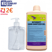 1L Intersept Antiseptic Gel Professional Hand, Body Sanitizer Disinfectant with Glycerine, 71% alcohol, 1L, 1000ml + Pump Bottle for disinfectant application (for hands, surfaces, rooms), 500ml