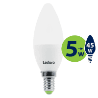 Leduro LED C35 bulb 5W 400lm 360° E14 2700K, 1 pc.