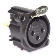"""AMPHENOL AC3FAV-AU-PRE socket, female XLR3 with """"push"""" button"""