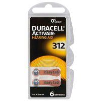 Duracell Activair 312 PR41 1.4V Hearing Aid Zinc-Air batteries, made in Germany, 6 pc.