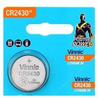 Vinnic 2430 DL2430 / CR2430 / K2430L 3V 290mAh Lithium Electronics Battery, litija elektronikas baterija 1 gab.